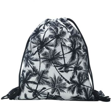 Palm Trees Tropical Drawstring Bags Cinch String Backpack Funny Funky Cute Novelty