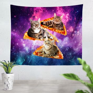 Space, Cats, and Pizza Tapestry