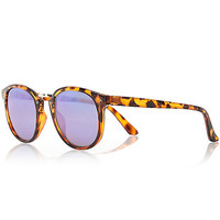 River Island MensBrown tortoise shell preppy round sunglasses