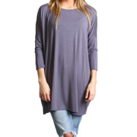 Charcoal Gray Piko 3/4 Sleeve Tunic