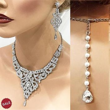 Silver Crystal Bridal Necklace Earrings Jewelry Set