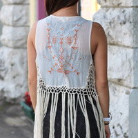 Tribal Embroidery Crochet Fringe Vest {Cream}
