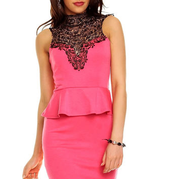 Pink Halter Neck Lace Sleeveless And Black Mini Skirt