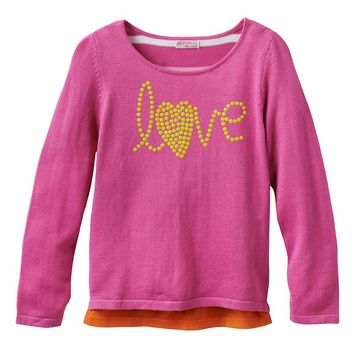 Design 365 Studded ''Love'' Tunic Sweater - Toddler Girl, Size: