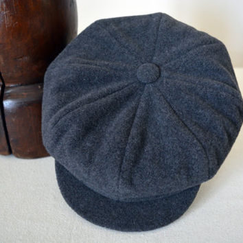 Dark Gray Newsboy Cap - Pure Wool Handmade Eight Piece / Bakerboy / Apple / Newsboy / Flat Cap - Men Women