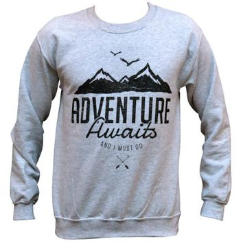 Adventure Awaits and I Must Go Sweater