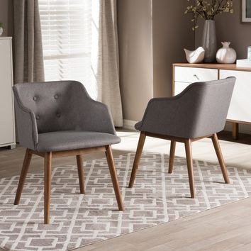 Baxton Studio Harrison Mid-Century Modern Grey Fabric and Walnut Brown Wood Button-Tufted Accent Chair Set of 2