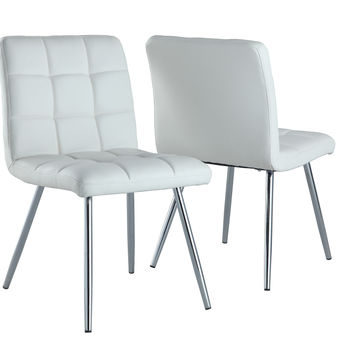 "White Leather-Look / Chrome Metal 32""H Dining Chair (Set Of 2) S"