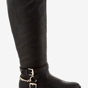 Nicole Chained Riding Boot - Black