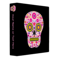 Pink Mexican Sugar Skull 3 Ring Binders