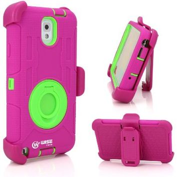 WISECASE Military Drop-Proof Protective Case and Holster for Samsung Galaxy Note 3 - Extremly Protective Dual layer Case with 360 Degrees Swivel Ring Kickstand and Rugged Face-in and out Holster (Pink Green):Amazon:Cell Phones & Accessories