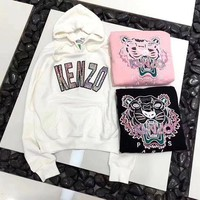 GK6HW Kenzo' Women Casual Fashion Sequin Letter Tiger Head Embroidery Long Sleeve Hooded Sweater Hoodie Tops