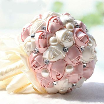 Crystal Pearls Wedding Bouquet Satin Wedding Flowers Bridal Bouquets