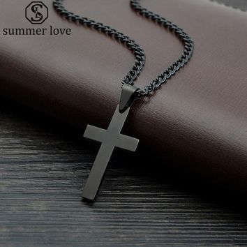 "Summer Love Jewelry Men's Cross Necklaces For Women Men Stainless Steel Black Color Pendant Prayer Necklaces 24"" Link Chain"