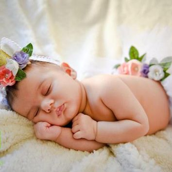 Newborn Baby Unicorn Horn, Unicorn Headband, Newborn Photo Prop, Newborn Girl Outfit, Newborn Tutu, Flower Crown, Floral Crown, Tieback