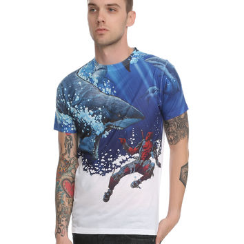 Marvel Deadpool Swimming With Sharks Sublimation T-Shirt