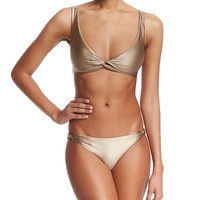 Knotted-Front Swim Top & Low-Rise Swim Bottom