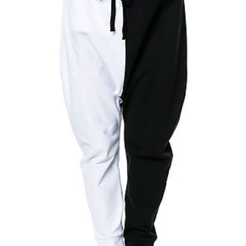 Yin Yang Drop Crotch Joggers - Half Black | Half White - Stash Pocket