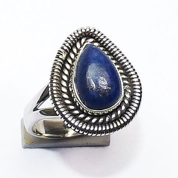 High Quality Ring - Lapis Ring - Pear Gemstone Ring - Solid Silver Ring, Bezel Set Ring, Natural Gemstone, Daily Wear Ring,Hot Sale Ring,