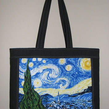 Quilted Tote Bag , Cotton Canvas Purse , Vincent Van Gogh Starry Night Panel