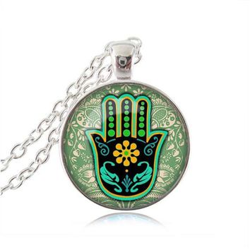 Hamsa Necklace Om Jewelry Henna Hamsa Hand Of Fatima Pendant Glass Dome Necklace Zen Statement Chain Necklace Attractive Gifts 2