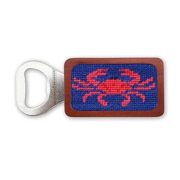 Crab Needlepoint Bottle Opener in Classic Navy by Smathers & Branson