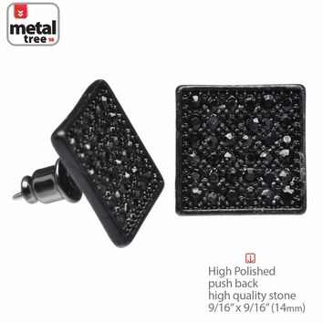 Jewelry Kay style Men's Hip Hop Iced Out Black XL Square Micro Pave AAA CZ Stud Earrings TE 520 BK
