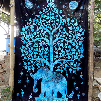 indian cotton elephant tapestry hippie wall hanging indian bedding bohemian bedspread tree elephant throw twin ethnic decorative art