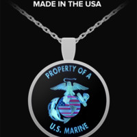 Marine Boyfriend Necklace - Blue & Black Designed Pendant - Marines Girlfriend