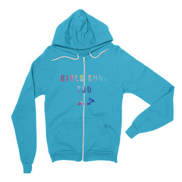 """Girls Surf Too Hawaii"" Women's Hoodie Sweater Sweatshirt"