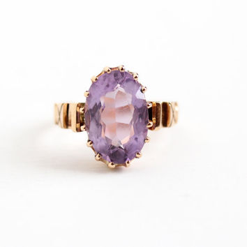 Antique 14k Rose Gold Victorian Rose de France Amethyst Ring - Vintage Size 6 1/2 Large Oval 4+ Carat Purple Gem Statement Fine Jewelry