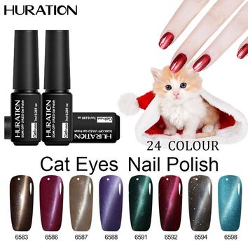 Huration Brand Lucky 3D Professional 7ML UV LED 24 Colort Cat Eye Gel Nail Polish Manicure cheap Nail Gel Lacquer