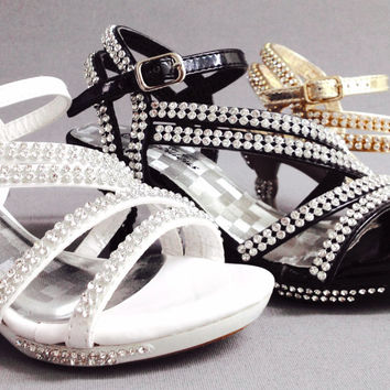 Girls LINK Glamour30K WEDDING PAGEANT Rhinestone Strappy Bling Platform Heels Sandals Shoes