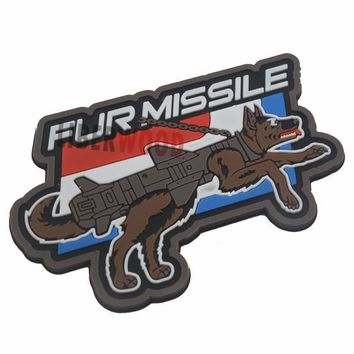 Motorcycle Biker  Morale Patch PVC FUR MISSILE K9 Dog Full Color PATCH Badge Police dog Tactical Harness Vest Airsoft Patches