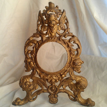 Antique Clock Frame in Solid Brass with Winged Cherub and Gargoyles
