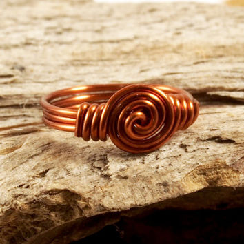Copper Wire Wrap Single Spiral Ring Size 3 Wire Wrapped Ring