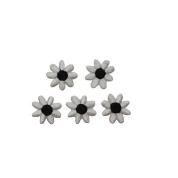 ID #6749 Lot 5 White Black Flower Blossoms Iron On Embroidered Patch Applique L5