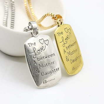 """The Love between A Mother & Daughter is "" Letter Pendant Necklace"