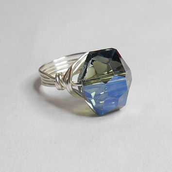 SALE TODAY Chinese Crystal Mexican Blue Silver Wrapped Ring Sizes 1-14