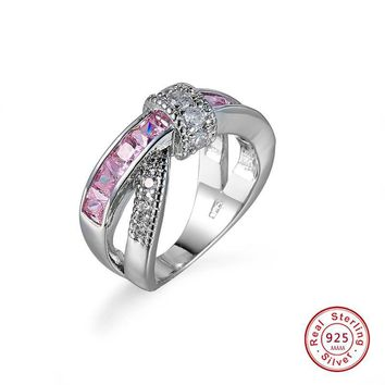Mystery Female Pink Cross Ring Fashion 925 Sterling Silver Filled Bowknot Promise Rings
