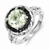 Sterling Silver Green Quartz and Black Diamond Ring