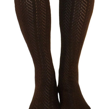 Women's Dark Brown Chevron Pattern Button Lace Boot Socks, Crochet Lace Button Boot Socks, gift