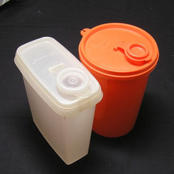 Pair of 1970s Tupperware Storage Containers with Pour Spouts in White and Orange, ~~by Victorian Wardrobe