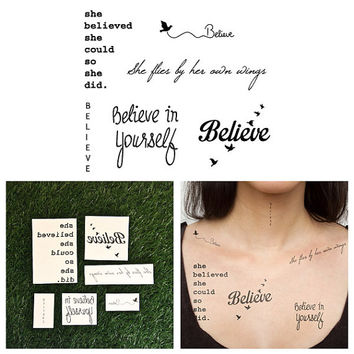 Believe Set  Temporary Tattoos Set of 6 by Tattify on Etsy