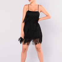 Something To You Fringe Dress - Black/Black