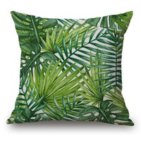 Free Shipping Custom Tropical Plant Cushion Cojin Green Leaf Pillow Home Deocrative Office Chair Back Waist Cushion Day-First™