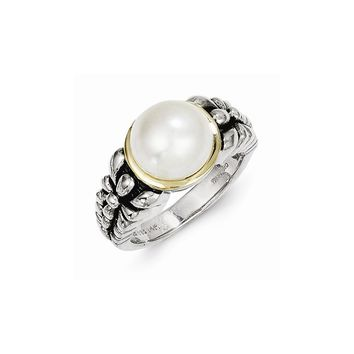 Antique Style Sterling Silver 9.5-10mm Freshwater Cultured Pearl Ring