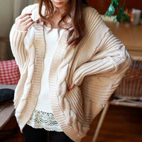 Winter White Cable Knit One Size Fits All Women's Trendy Sweater