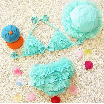 1-10 Years Children Swimwear 3 Pieces Falbala Girls Swimwear Baby Kids Swimsuit Bikini Lovely Girl Bathing Suit Biquini Infantil