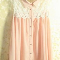 Womens Sleeveless Lace Shirt with Collar for Summer